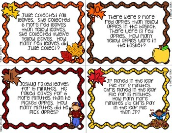 Second Grade Word Problems:  Fall Word Problems