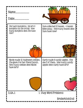 Word Problems: Fall and Winter Theme!   2nd Grade CCSS