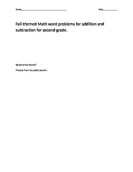 Fall Word Problems Addition and Subtraction