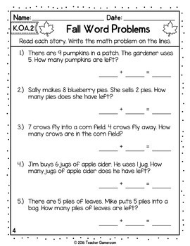 Fall Word Problems - Addition and Subtraction - K.OA.2