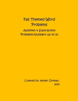 Fall Word Problems: Addition and Subtraction With Numbers Up To 10