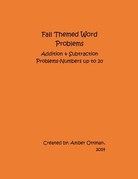 Fall Word Problems: Addition and Subtraction With Numbers Up To 20