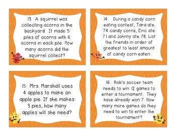 Fall Word Problems - Common Core Aligned - Grade 3