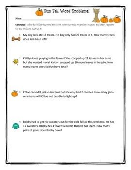 Fall Word Problems- Leveled Worksheets
