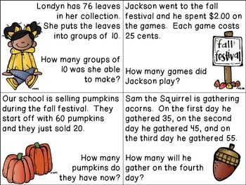 Fall Word Problem Cards
