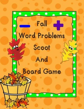Fall Word Problems Scoot and Board Game