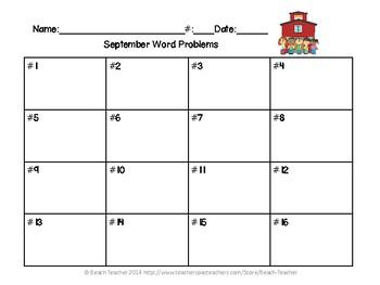 Fall (Sep.-Nov.) Word Problems for 1st Grade Bundled (TASK CARDS)