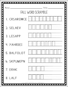 Fall Word Scramble Puzzle - Autumn Handwriting Practice and Spelling Activity