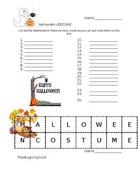 EDITABLE Fall Word Scramble-Thanksgiving and Halloween!
