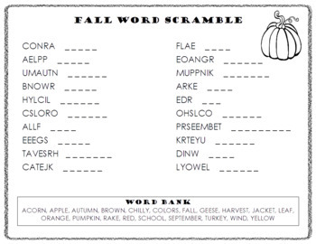 Fall Word Scramble and ABC Order Cut and Paste