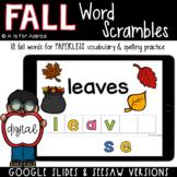 Fall Word Scrambles DIGITAL | Distance Learning