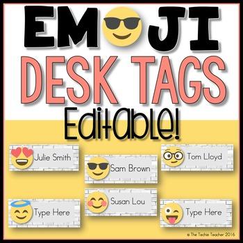 Editable Desk Tags: EMOJI Edition