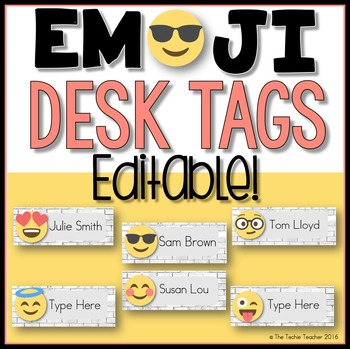Editable Desk Tags: EMOJI Edition