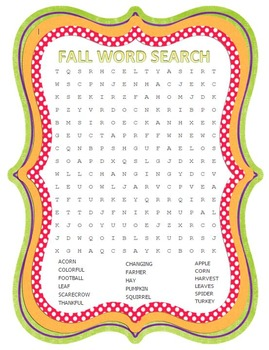 Fall Word Search 17 Words