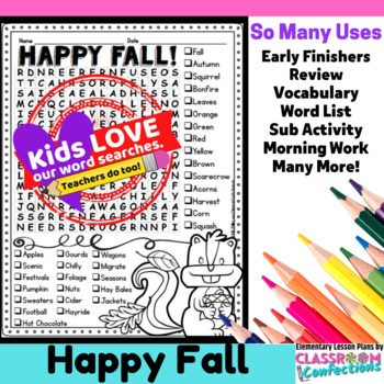 Fall Activity: Fall Word Search