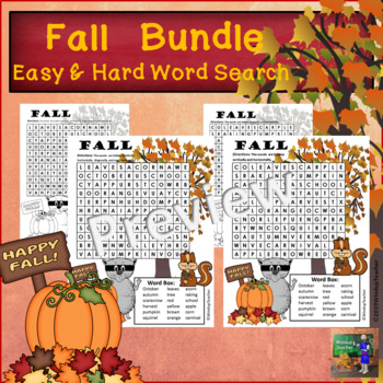 Fall Word Search - Easy and Hard BUNDLE