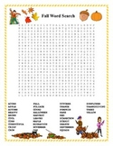 Fall Word Search- Harder 35 Words