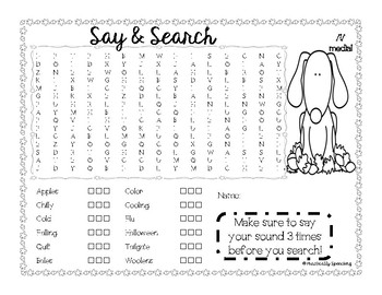 Fall Word Search - L initial, medial, final