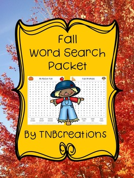 Fall Word Search Packet