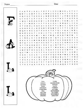 Fall Word Search Puzzle / 5th Grade / 6th Grade
