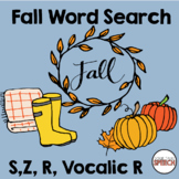 Fall Word Search S, Z, R, Vocalic R | Articulation | Speec
