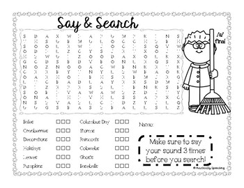 Fall Word Search - S initial, medial, final