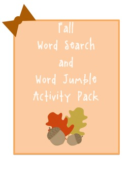 Fall Word Search and Word Jumble Activity Pack