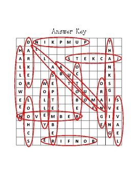 Fall Word Search with Answer Key