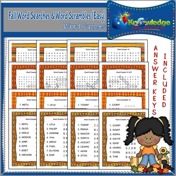 Fall Word Searches & Word Scrambles - Easy