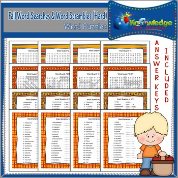 Fall Word Searches & Word Scrambles - Hard