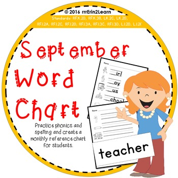Fall Word Study Kindergarten September