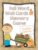Fall Word Wall Cards & Memory Game (Bilingual)