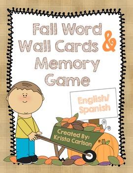 Fall Word Wall Cards & Memory Game (Bilingual)