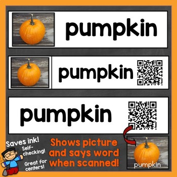 Fall Word Wall Cards Real Photos & QR Codes (shows picture, says word)