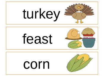 Fall Word Wall Cards (Thanksgiving)