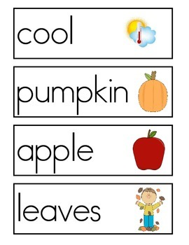 Fall Word Wall Vocabulary Cards