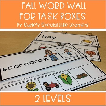 Fall Word Wall for Autism and Special Ed Task Boxes