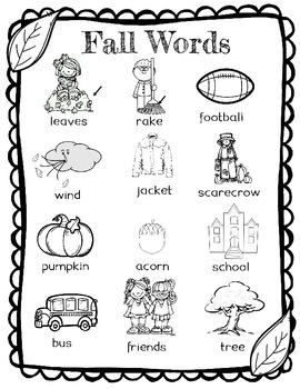 Fall Word Wall for Daily 5 Writing Portfolios / Journals / Writing Center