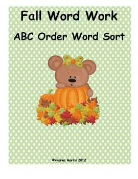 Fall Word Work- ABC Order
