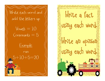 Fall Word Work Activities