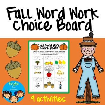 Fall Word Work Choice Board