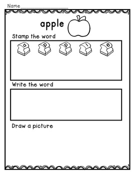 Fall Word Work for Kindergarten