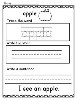 Fall Word Work for Kindergarten