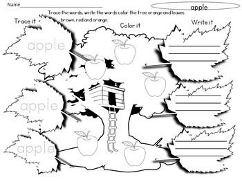 Fall Word Worksheet - Writing Practice