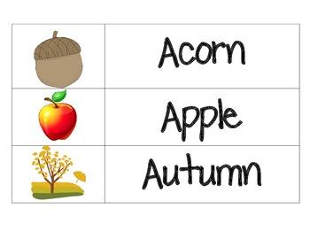 Fall/Autumn Word Wall Cards & File Folder Word Wall