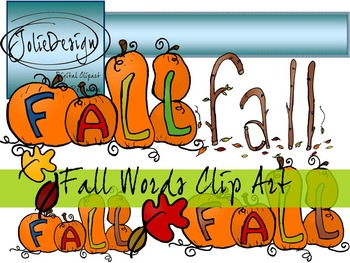 Fall Words Clip Art - Color and Line Art