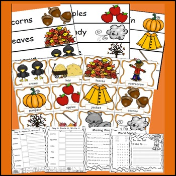 Fall Words, Fall Theme, Math and Literacy, Fall Activities, Bundle