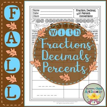 Fall Words - Fraction, Decimal, Percent Conversions