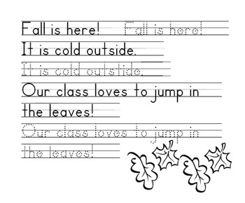 Fall Words Handwriting Worksheet - Zaner Bloser