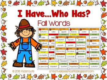 Fall Words~ I Have~ Who Has? Game Cards